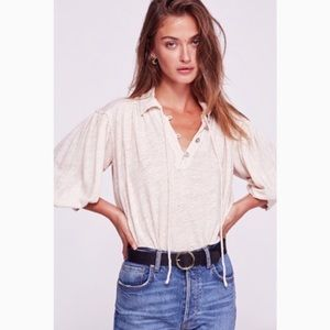 Free People Blouse, Rush Hour Tee in Pearl NWT